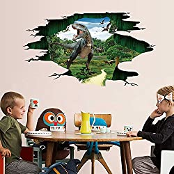 Iusun 3D Dinosaur Floor Wall Sticker Removable DIY Mural Paper Decoration for Room Home Nursery Bedroom Office Supplies Decal - Ship From USA (A)