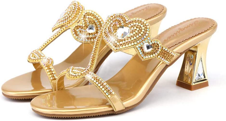 HRN Womens Sandals Leather with Rhinestones Sandals and Slippers Thick with Open Toe high Heel Sandals Summer Gold,40EU