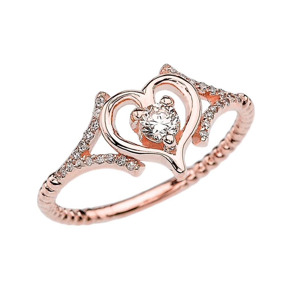 Diamond Heart Promise Ring Collection in 14k Rose Gold Rope Design