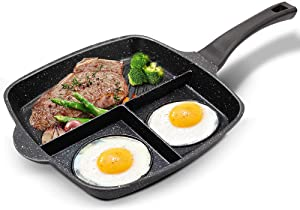 EJOYWAY 3 Section Divided Pan,Breakfast Pan Nonstick Triple Divided Grill/Griddle/Frying Pan Meal Skillet Aluminum Cooker Pan Suitable for Gas Stove & Induction Cooker