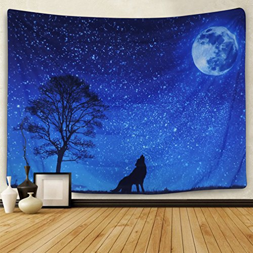 Moon and Stars Tapestry Wall Hanging Wolf Tapestry Moon Tapestry Starry Sky Tapestry Galaxy Night Sky Full of Stars Wall Tapestry Forest Starry Mandala Tapestry Popular Tapestry Psychedelic Wall Art ()
