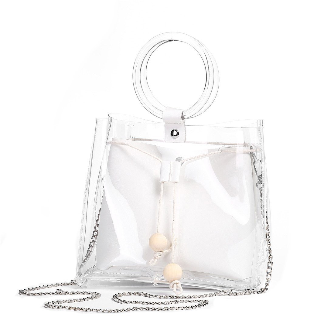 FANCY LOVE Classy Waterprof Clear Tote Beach Shoulder Crossbody Bag (White)
