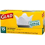Glad Tall Kitchen Quick-Tie Trash Bags, 15s