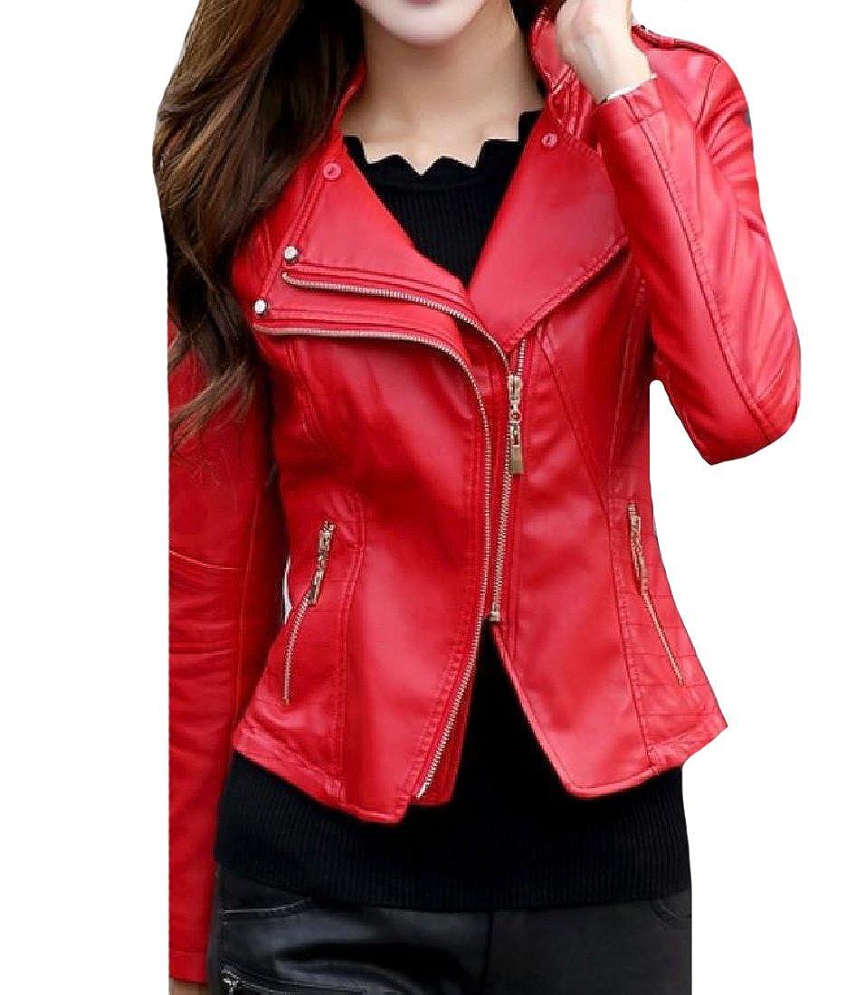 733c21560 LoveSky-Women Thin Gothic Punk Zip Closure Curvy Moto Biker Jacket ...