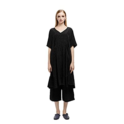 Ailefei Women's Blouses Dress Striped Short Sleeve Loose V Neck Wide Leg Pant Two Piece Outfit with Pocket Black: Clothing