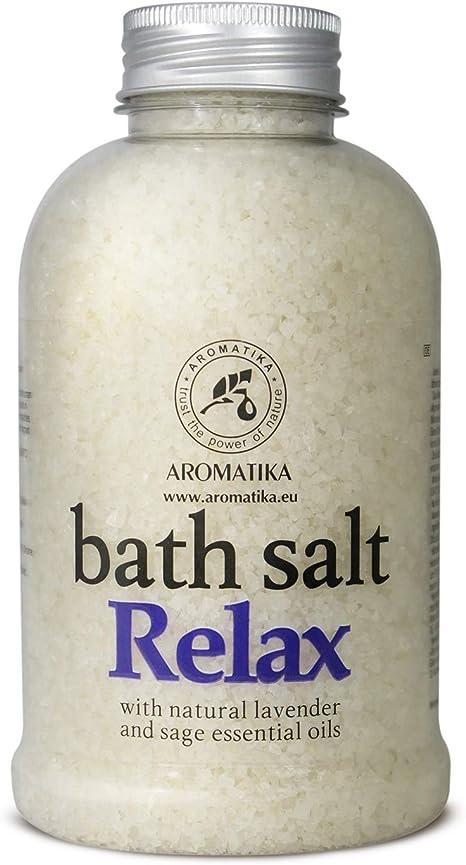 Sales de baño con aceite esencial de lavanda y salvia