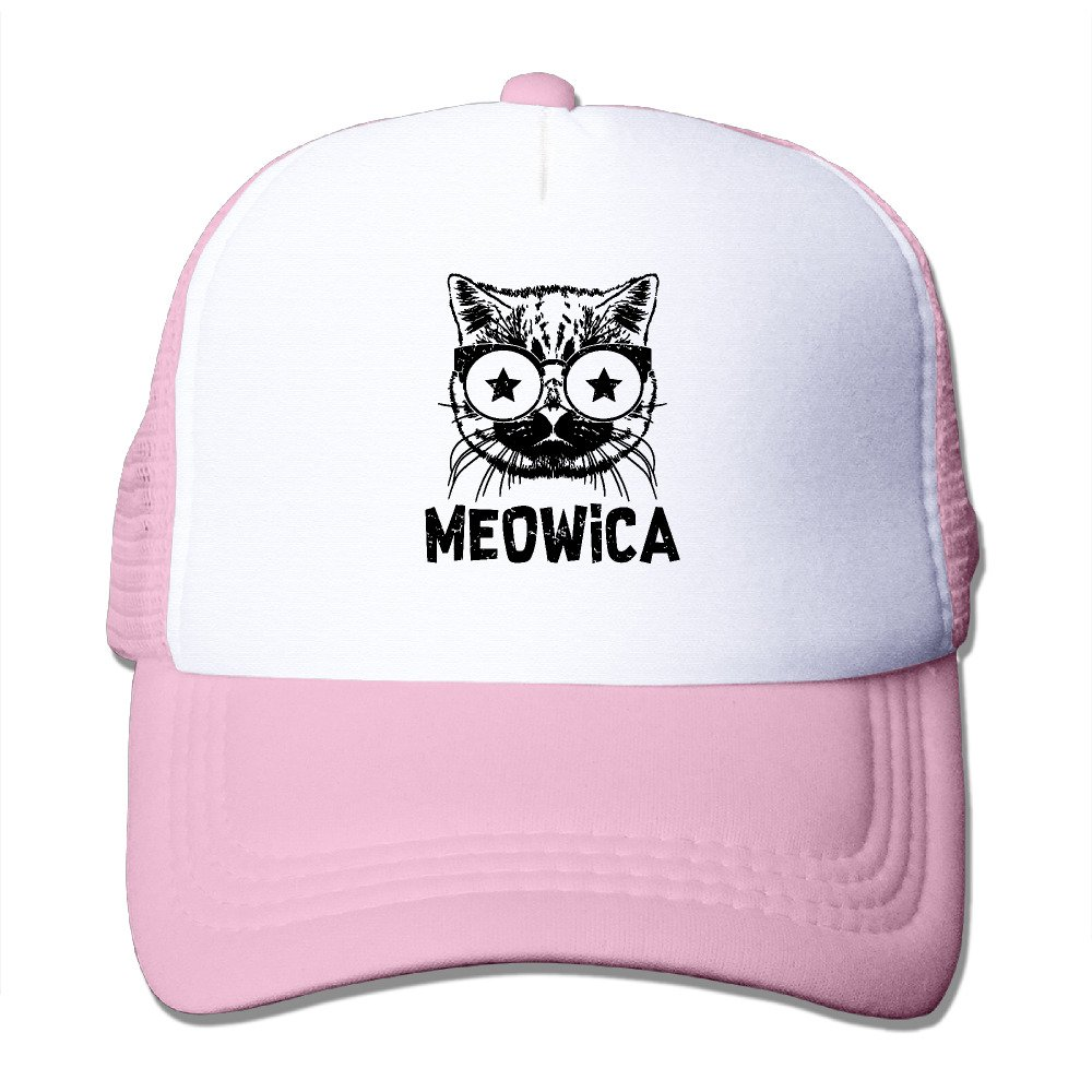 5ec1048567a Meowica America Patriot Cat Boy   Girl Grid Baseball Caps Adjustable Nice Icon  Trucker Hat Beautiful Ash at Amazon Men s Clothing store