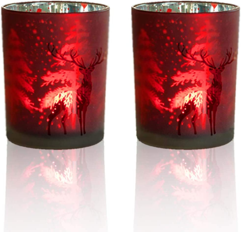 lEPECQ Christmas Votive Candle Holders  Decorative Votive Candle Holders 3 H - Red Voitve Candle Holders  Set of 2  - Tealight Holders for Home  Wedding Living Room and Bedroom Decor
