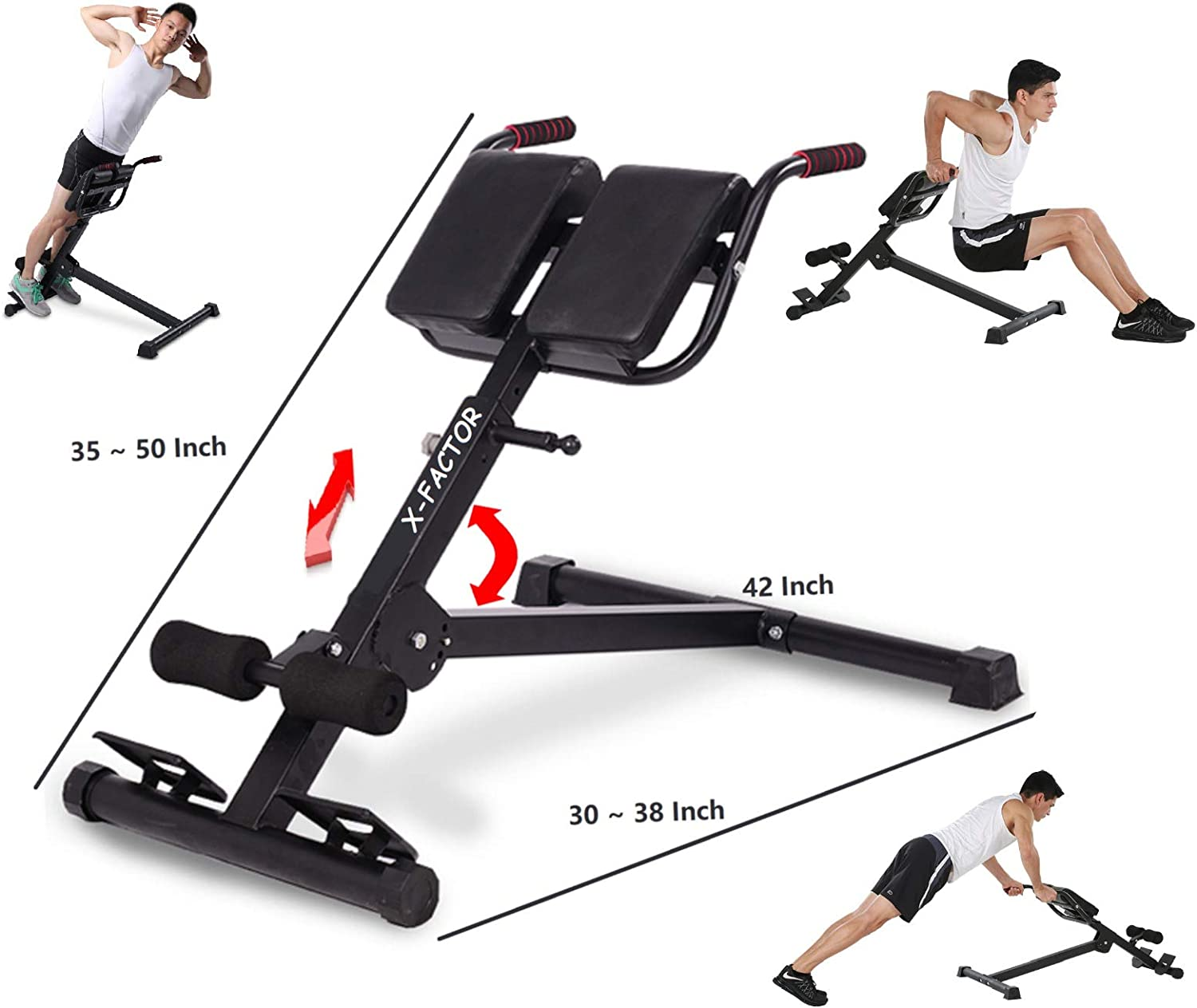 Adjustable AB Sit Up Bench Back Hyper Exercise Abdominal Roman Chair Workout