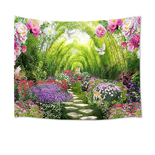 HVEST Spring Scenery Tapestry Deer Dove Blooming Flowers in Garden Wall Tapestry Hanging Fairy Tale Flowering Shrubs Tapestry for Kids Girls Bedroom Living Room Dorm Party Decor,80Wx60H inches