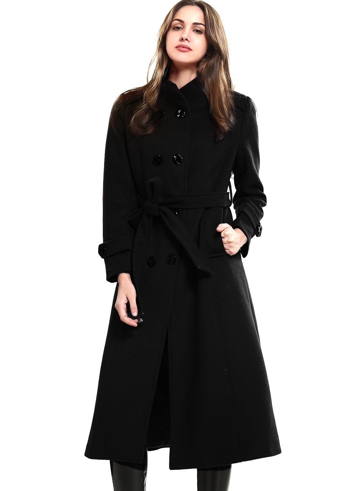 Escalier Women's Wool Trench Coat Double-Breasted Jacket With Belts Black 3XL by Escalier