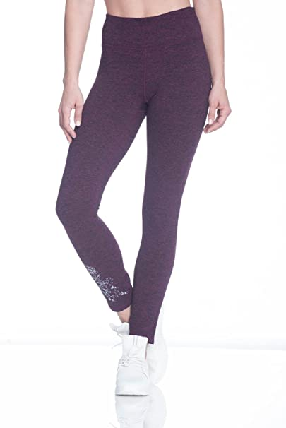 3463f21dae604 Gaiam Women's Om Carmen Mid Rise Waist Marled Performance Spandex  Compression Legging - Pickled Beet Heather