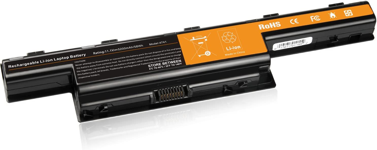 Laptop Battery for Acer 5750 5750G 5742 5742G V3-772G E1-531 5250 5251 5253 5552 5560 5733 5755 7741Z, Acer AS10D AS10D31 AS10D41 AS10D51 - [6-Cell 5200mAh/58Wh]