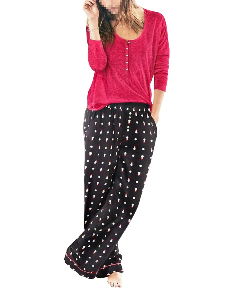 Victoria's Secret , The Dreamer Henley Snowman Pants & Red Sleepshirt Pajama 2 Piece Small