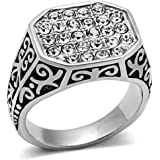 YourJewelleryBox TK362p MENS SIGNET RING STAINLESS STEEL SIMULATED DIAMONDS 26 STONE PINKY SMART