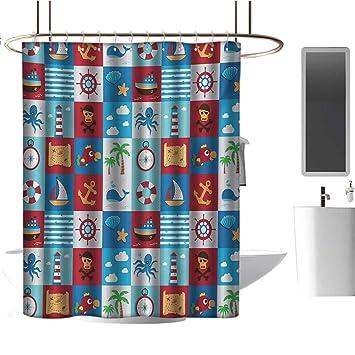 Amazon.com: Cortina de ducha transparente para niños, diseño ...