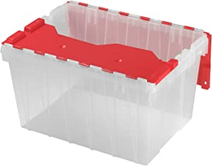 Akro-Mils Holiday Storage KeepBox Plastic Storage Container 12 Gallon with Hinged Attached Lid, 66486CLRED, (21-Inch L by 15-Inch W by 12-Inch H), Clear/Red