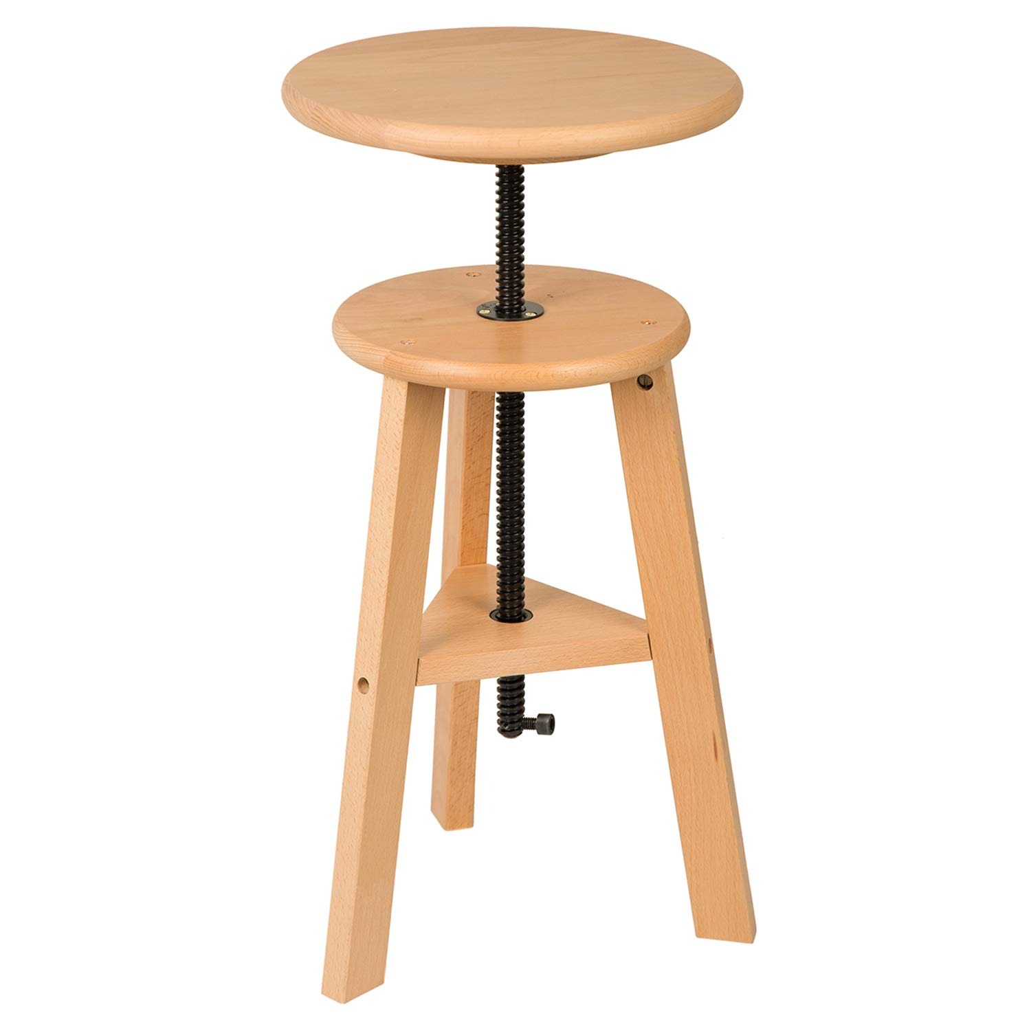 Wooden Drafting Stool with Adjustable Height by MEEDEN – Wood Drafting Chair – Improve Productivity, Good for Spine – Up to 220 Lbs, German Beech