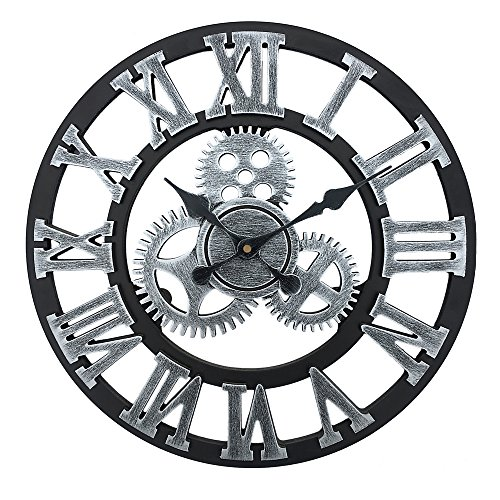 Vintage Industrial Gear Wall Clock,23 Inch Round 3D Roman Numerals Retro Rustic Battery Operated Non-Ticking Large Art Home Decoration for Living Room (23 inch Diameter, Antique Grey)