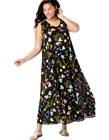 a83ab804a14 Woman Within Women s Plus Size Sleeveless Crinkle A-Line Dress