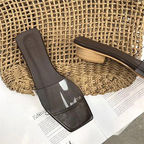 WL-zzf Nueva Version Coreana Es De Cristal Transparente Adhesivo Cabeza Cuadrada, De Bajo Fondo Plano Único, El Único Zapatillas Y Aspera Playa Arrastrando. Dark brown