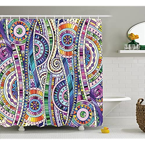 Ambesonne Home Decor Collection, Geometric Mosaic Style Colorful  Illustration Flower Pattern Ornamental Doodle Native Art, Polyester Fabric  Bathroom Shower ...