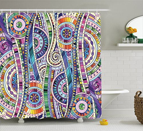 Ambesonne Home Decor Collection, Geometric Mosaic Style Colorful Illustration Flower Pattern Ornamental Doodle Native Art, Polyester Fabric Bathroom Shower Curtain Set with Hooks, Purple (Purple Mosaic)
