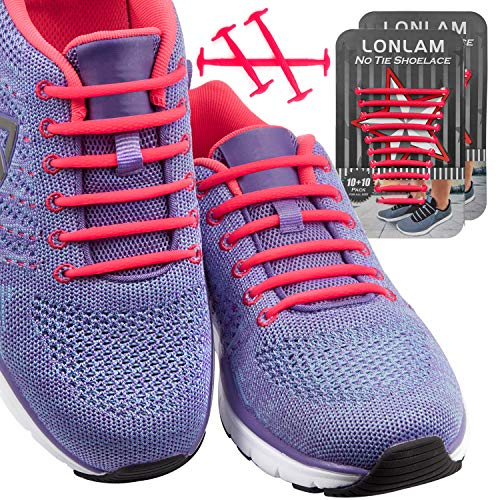 [Upgrade] Lonlam No Tie Shoelaces (Round Stretch Strings) Silicone Elastic Bungee Rubber Laceless Lazy Tieless Shoe Laces for Adults Kids Toddlers, Sneakers Athletic Running Boot Dress Shoes (Pink)]()