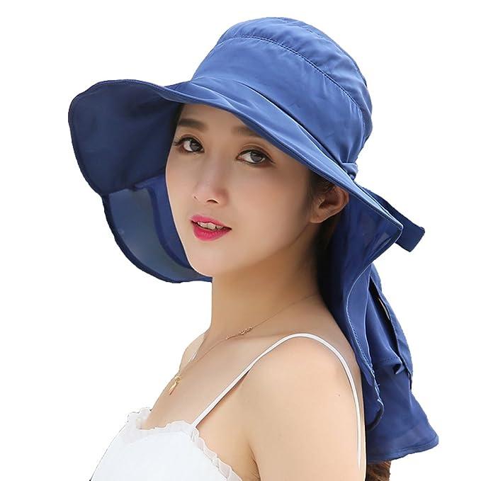 Women sunscreen hat summer beach sun hat UV protection (blue) at ... 15b0558ecb0