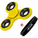 BLAZE TWISTER (Yellow) Single Bearing Fidget Spinner Toy, Spintime 2-3 Min By Daddy and Sons Toys
