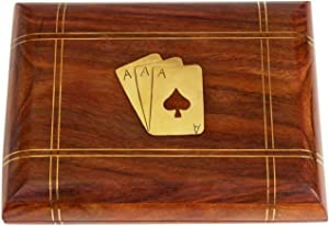 S.B Arts Decorative Playing Card Box Organizer with 2 Decks of Card 3D Board Game Classic Wooden Game Home Decor for Living Room Table Decor Coffee Table Game Strategy Game for Families & Friends