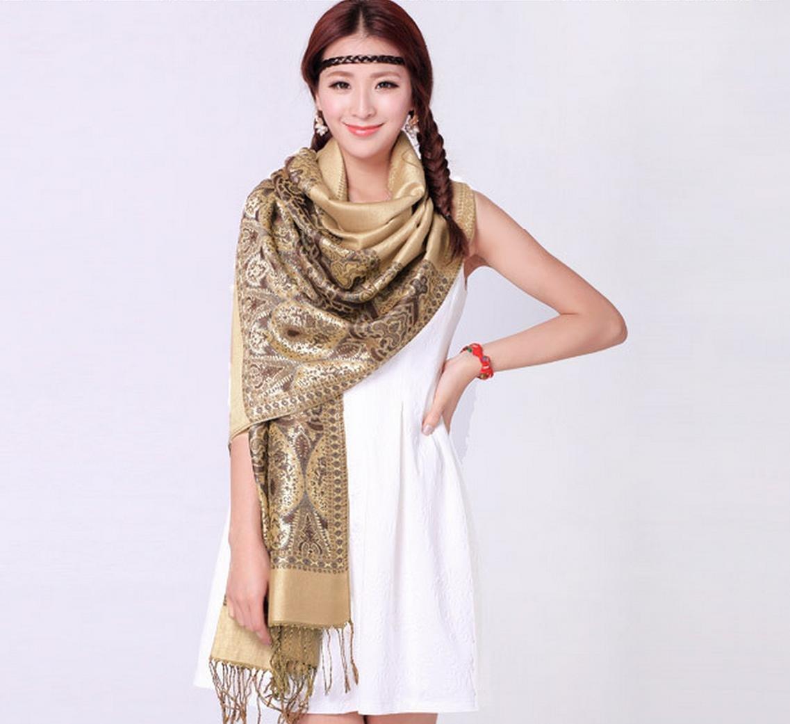 Onlineb2c Women's Woven Reversible Paisley Pashmina Shawl Wrap Camel by Onlineb2c (Image #2)