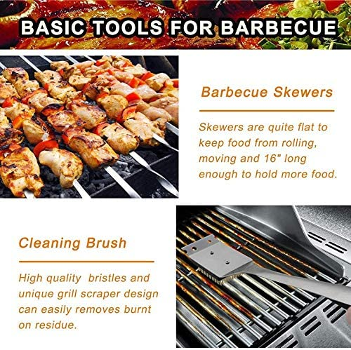 BKAUK 27 Pcs en Acier Inoxydable Barbecue Outils Kit Camping en Plein Air Cuisson Outils Barbecue Grill Ustensile Accessoires Kit