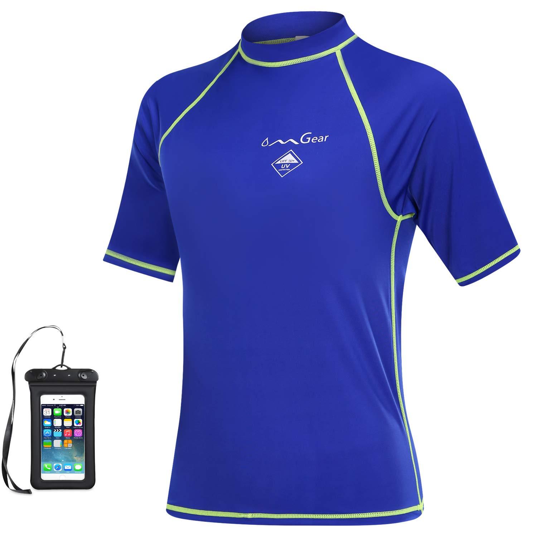 OMGear Rash Guard Swim Shirt Sun Block Short Long Sleeve Surf Tee Swimsuit Top Outdoors (Blue(Short Sleeve), 2XL) by OMGear