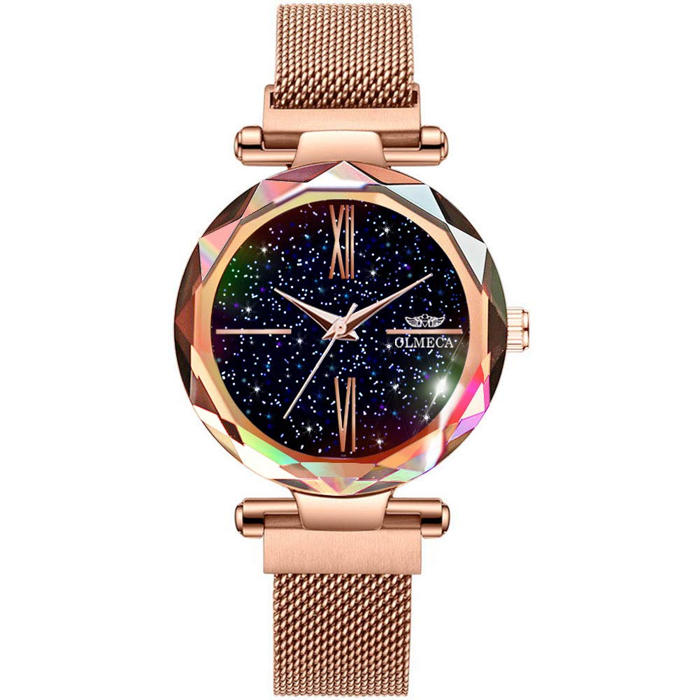 OLMECA Women s Watches Starry Night Fashion Simple Watches Wristwatches Waterproof Quartz Women Watches for Women 866