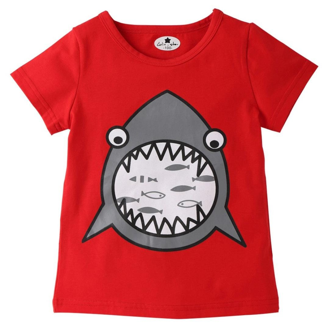 Putars Baby Clothing Toddler Kids Shark Cartoon Print T-Shirt Tops Shirts Tee