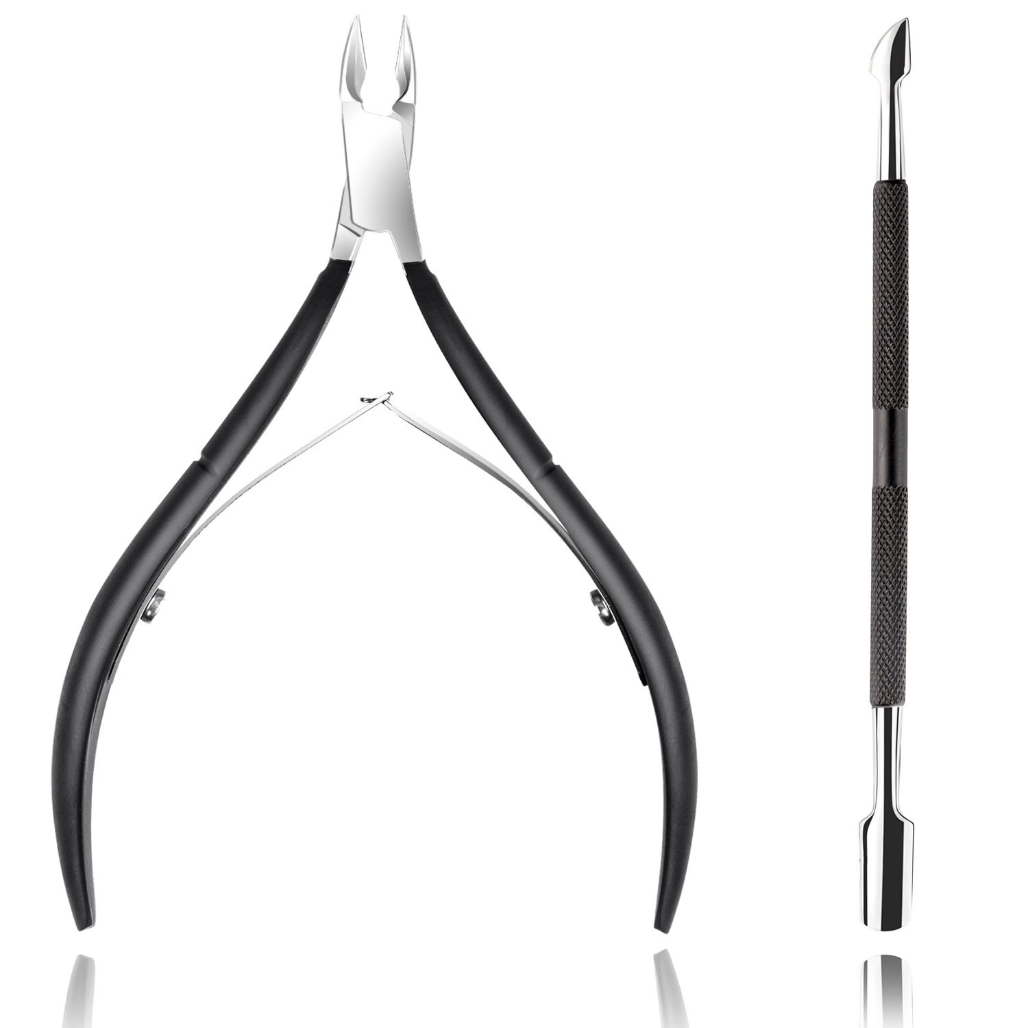 Ejiubas Cuticle Trimmer with Cuticle Pusher Cuticle Nipper Professional Grade Stainless Steel Cuticle Remover Cutter Clipper Durable Pedicure Manicure Tools for Fingernails and Toenails