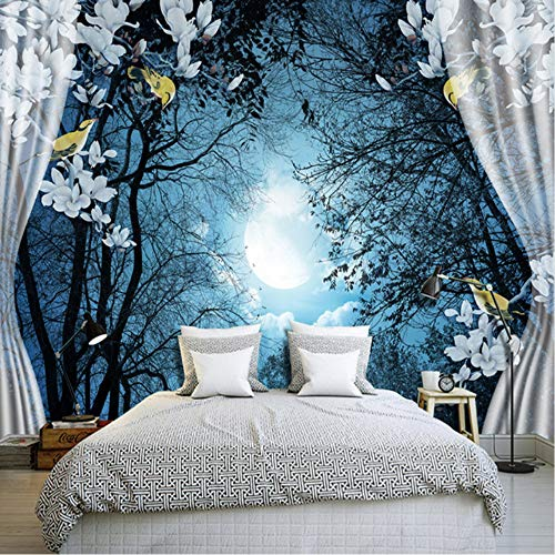 xbwy 3D Wall Mural Wall Paper Natural Scenery Peaceful Night Forest Moon Custom 3D Room Landscape Photo Wallpaper Window View Bedroom-200X140Cm