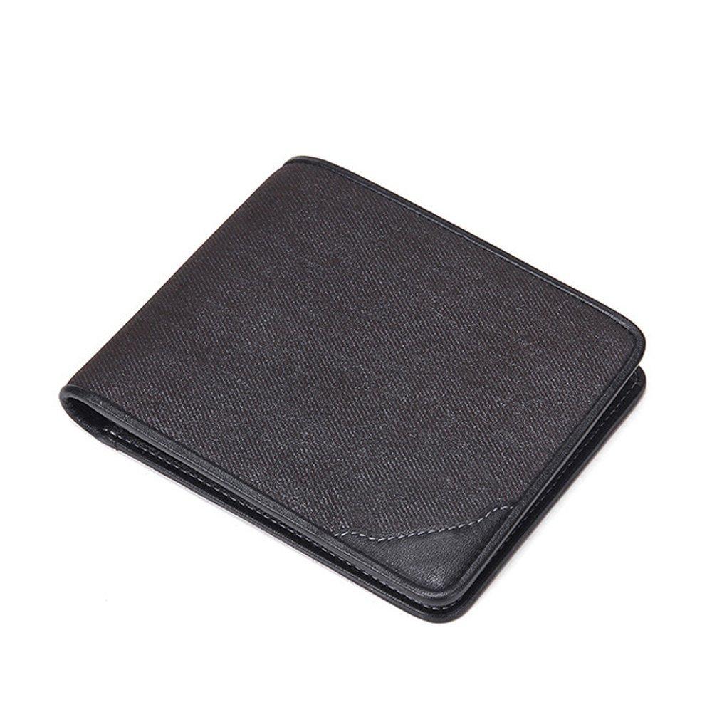 Men Multifunction Cowhide Short Horizontal Wallet Thin Soft Classic Credit Card
