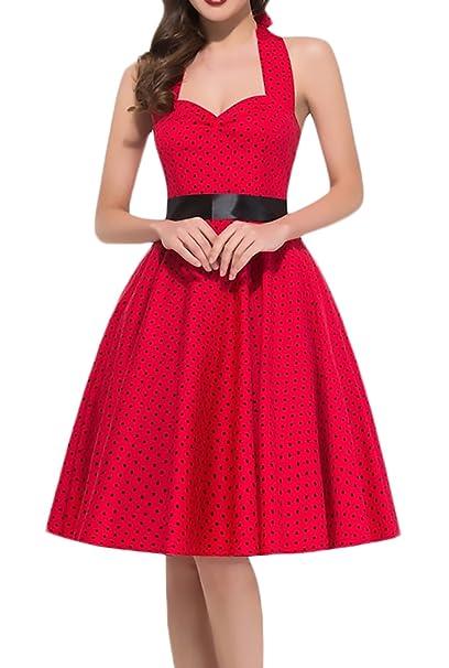 Huixin Vestidos Mujer Verano Vestidos De Fiesta Elegantes Sin Mangas Atado Dresses Señoras Moderno Al Cuello Cintura Alta Vestidos Años 50 A-Lìnea Vintage ...