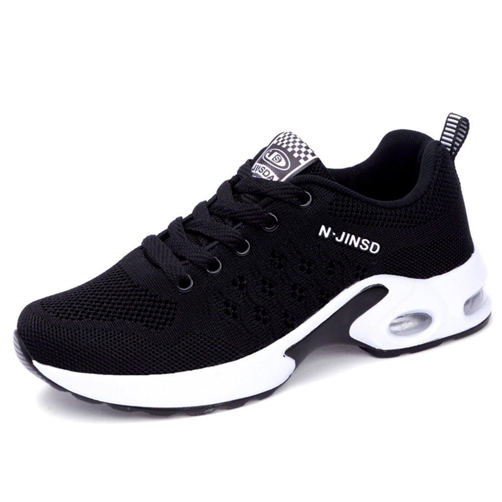 Zapatos de Mujer Malla Transpirable Primavera Otoño Confort Zapatillas de Deporte Creepers For Purple Negro, Azul, Gris Jogging Fitness Movimiento Mesh (Color : Negro, Tamaño : 36) 36|Negro