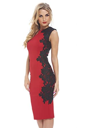 b41edf0ea1 Amazon.com  AX Paris Women s Lace Side Bodycon Dress  Clothing