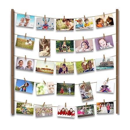 Uping Marco de Fotos de Pared de Madera | Con Cuerda y 30 Pinzas de Madera | 66CM * 74CM | Decoración de la pared, idea del regalo, para foto dibujo ...