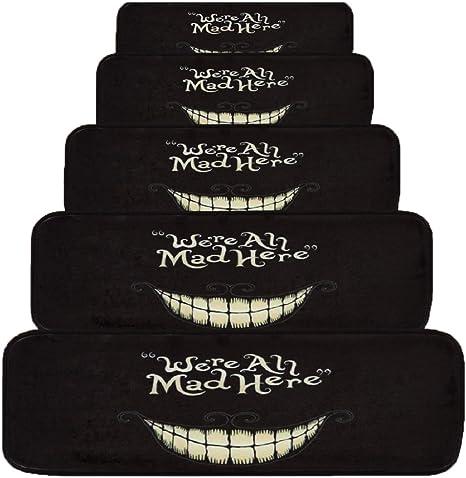 Peldaños para Escaleras Antideslizantes Alfombra De Escalera Juego De 15 Tapetes Protectoras Moquetas, 70 X 22 Cm, Negro: Amazon.es: Hogar