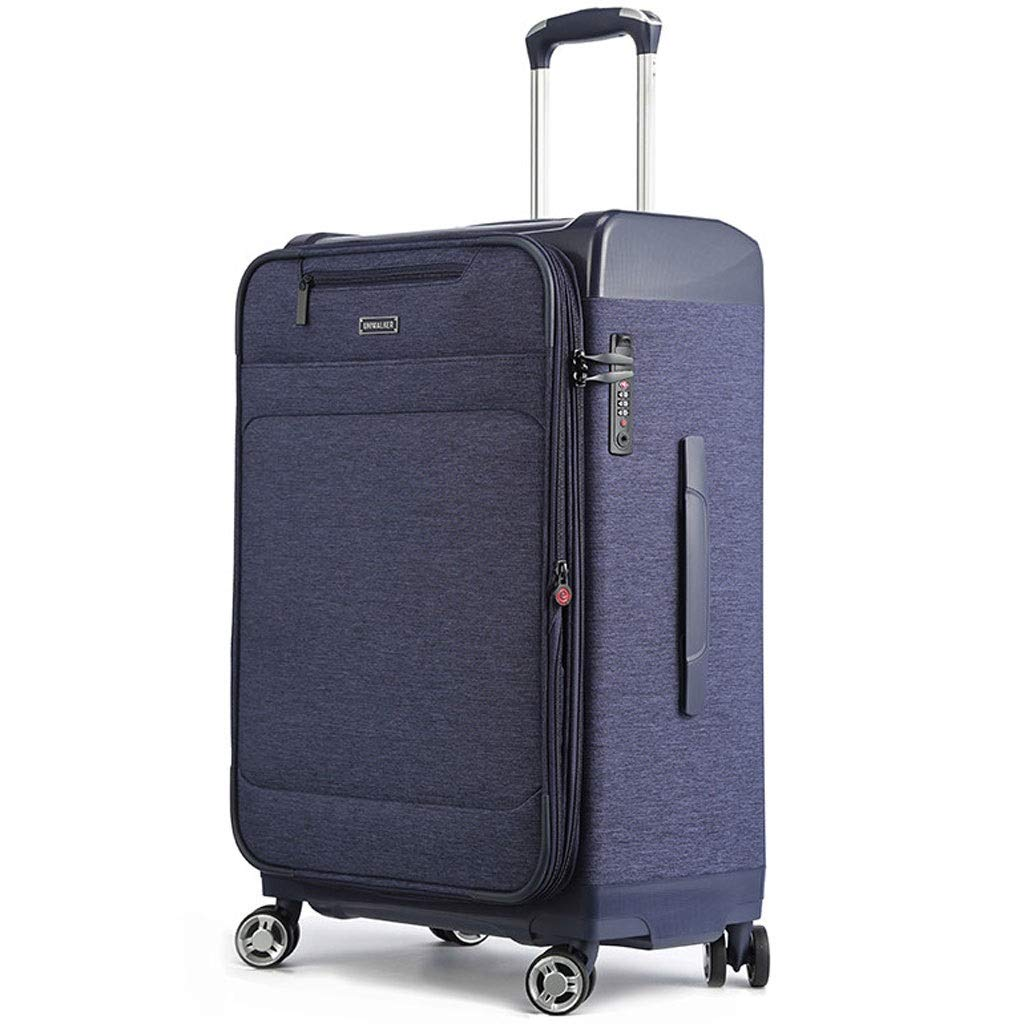 FRF トロリーケース- 人および女性、学生の足車のキャンバスのスーツケースのスーツケースのための大容量のオックスフォードの真鍮箱 (色 : 青, サイズ さいず : 20in) 20in 青 B07QN29X8Q