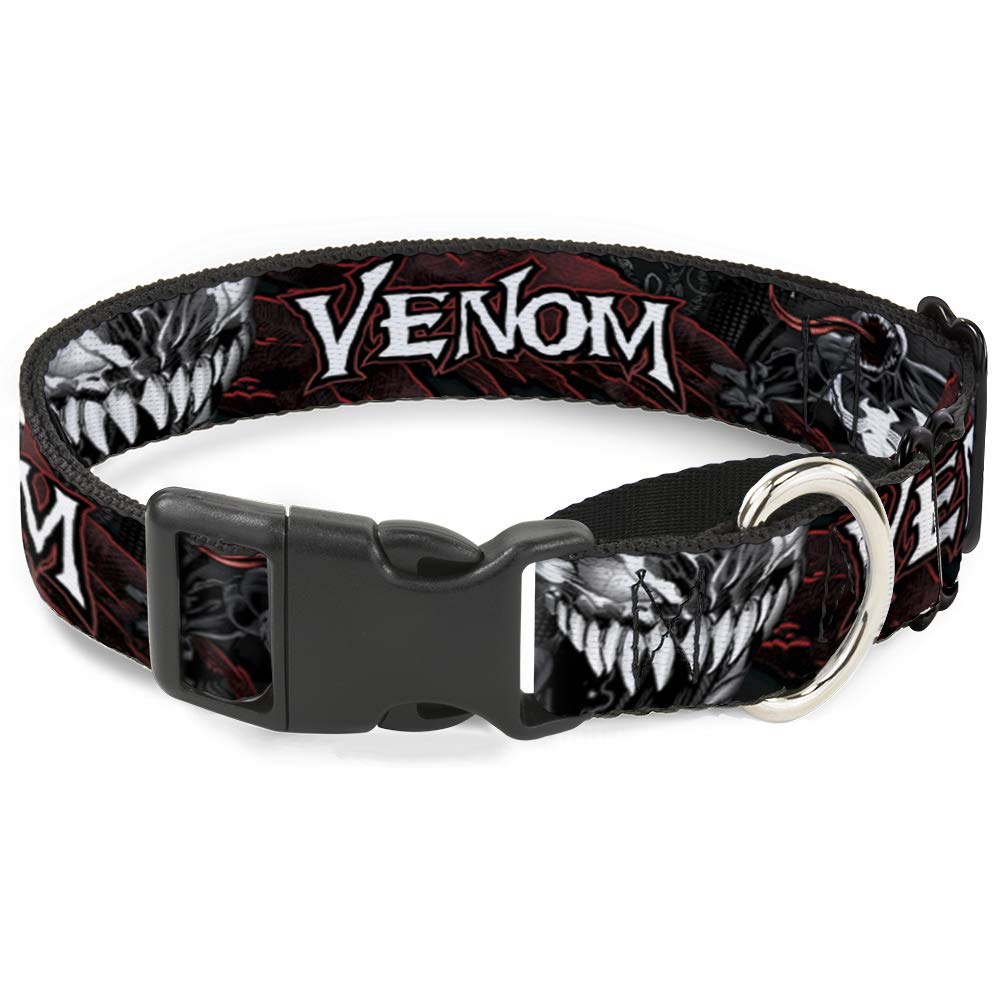 Dog Collar Martingale Venom Pose Expression Gray Black Red White 15 to 26 Inches 1.0 Inch Wide
