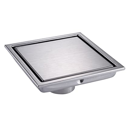 Stainless Steel Shower Floor Pan.Hanebath 6 Inch Square Shower Floor Drain With Tile Insert Grate Brushed