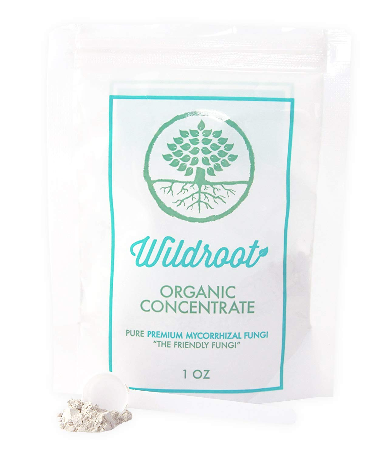 Wildroot Organic Mycorrhizal Fungi (16 Species) Endo & Ecto Mycorrhizae Inoculant Powder Concentrate for Plants -1 Scoop Makes 1 Gal -100% Safe for Kids Pets (Powder, 1 oz)