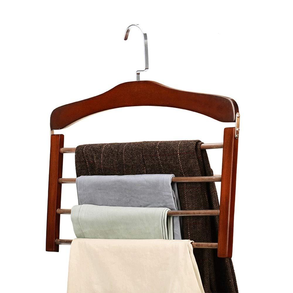 洗濯 ハンガー 物干し 多機能ハンガー 2服のパックパンツハンガー4層木製パンツスラックハンガークローゼット収納オーガナイザー用パンツジーンズ ズボンハンガー スカートハンガー クリップ ハンガ (Color : Retro, Size : 38cm) B07SXS1C3S Retro 38cm