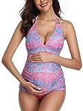 Women Halter Maternity Tankini Swimsuit Floral